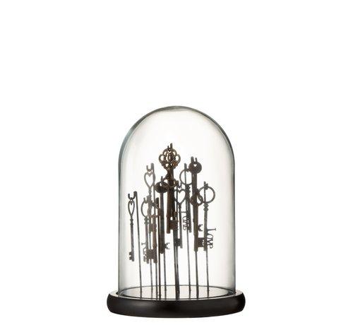 J-Line Decoration Stolp Keys Dark Transparent Glass - Small