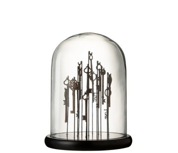 J-Line Decoration Glass Keys Glass Transparent Dark Brown - Medium