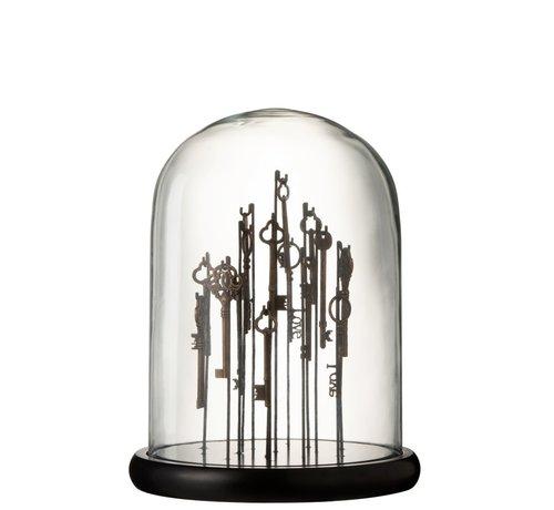 J -Line Decoratie Stolp Sleutels Glas Transparant Donkerbruin - Medium