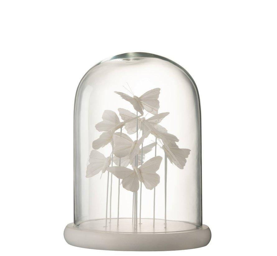 Decoration Stolp Glass Butterflies Transparent White - Large