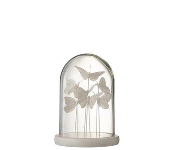 J-Line Decoration Stolp Glass Butterflies Transparent White - Small