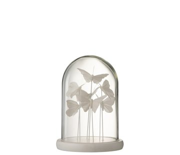 J -Line Decoration Stolp Glass Butterflies Transparent White - Small