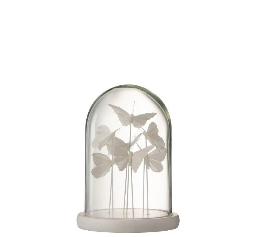 Decoration Stolp Glass Butterflies Transparent White - Small