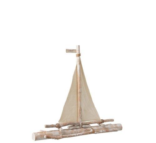 J -Line Decoratie Zeilboot Sparrenhout Takken Textiel - White wash