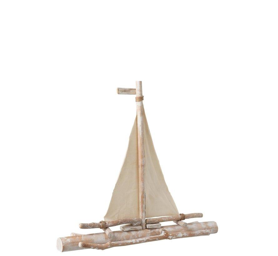 Decoratie Zeilboot Sparrenhout Takken Textiel - White wash