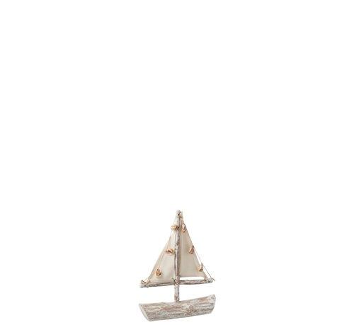 J-Line Decoratie Zeilboot Sparrenhout Schelpen Textiel - White wash
