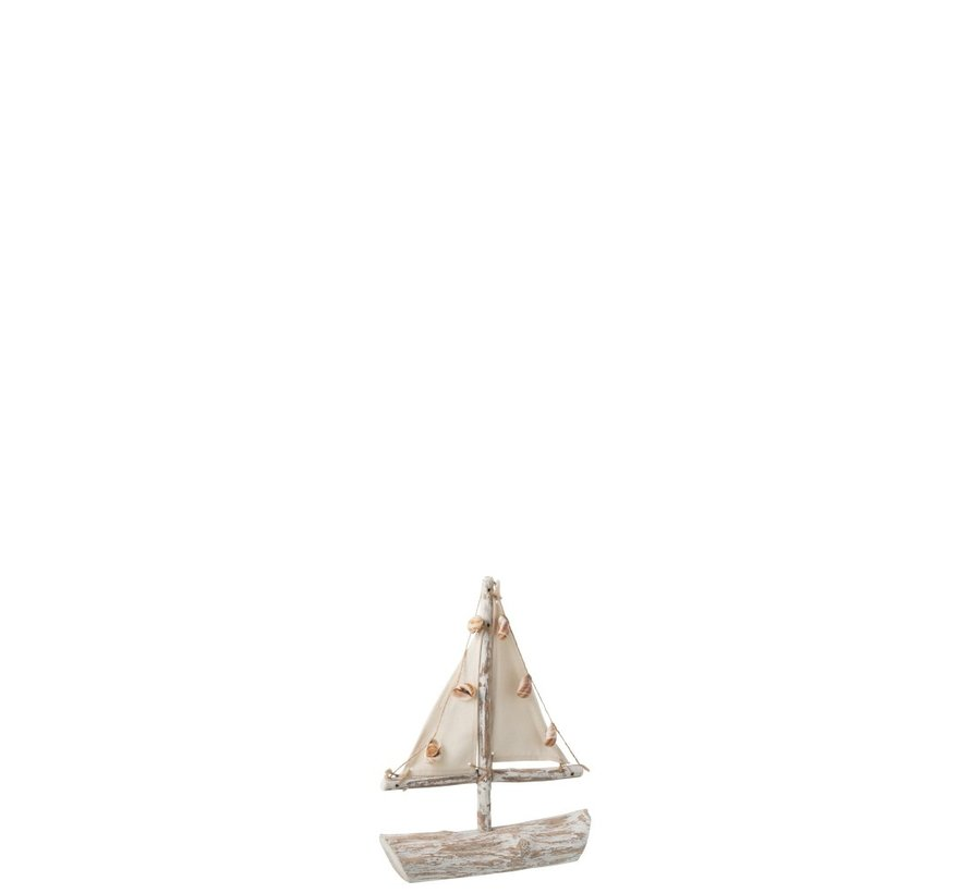 Decoration Sailboat Spruce Wood Textile Collection - White Wash
