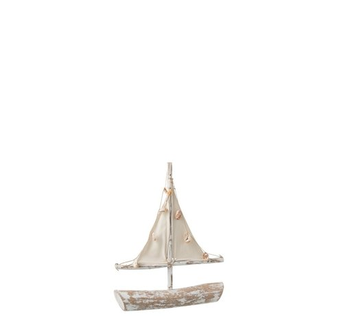 J -Line Decoration Sailboat Sparrenhout Shells Textile - Whitewash