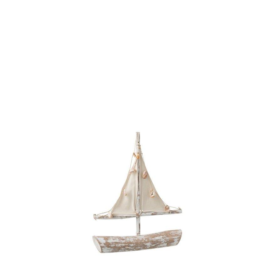 Decoratie Zeilboot Sparrenhout Schelpen Textiel - White wash