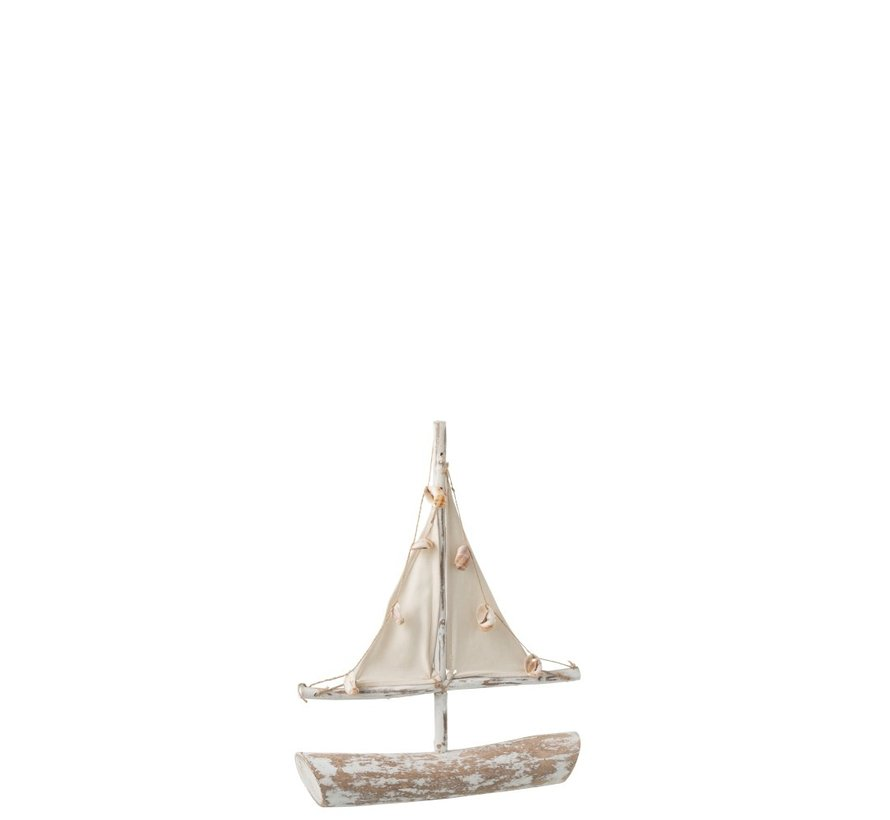 Decoration Sailboat Sparrenhout Shells Textile - Whitewash