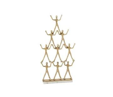 J -Line Decoratie Figuur Piramide 9 Personen Aluminium Marmer - Goud
