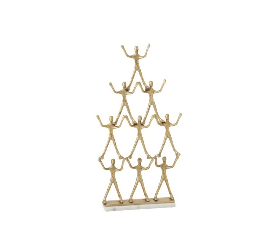 Decoration Figure Pyramid 9 Persons Aluminum Marble - Gold