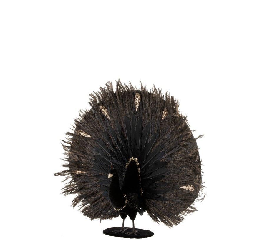 Decoratie Pauw Open Pluimen Veren Zwart - Goud