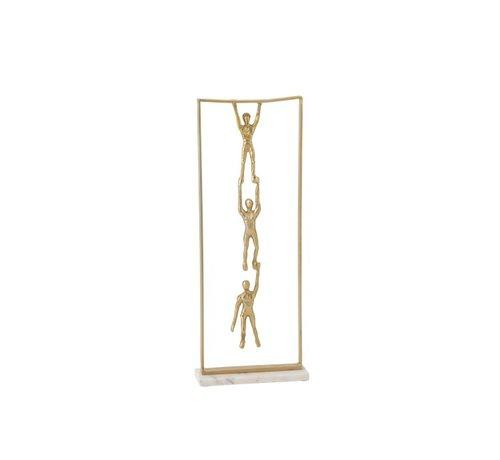 J -Line Decoratie Figuur 3 Personen Hangend Aluminium Marmer- Goud