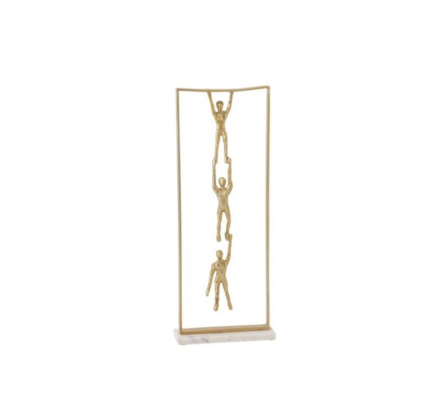 Decoratie Figuur 3 Personen Hangend Aluminium Marmer- Goud