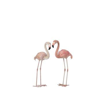 J-Line Decoratie Flamingo's Staand  Fluffy Veren Roze - Small