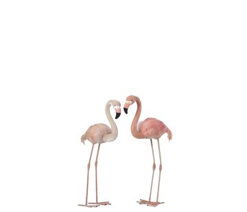 J -Line Decoratie Flamingo's Staand  Fluffy Veren Roze - Small