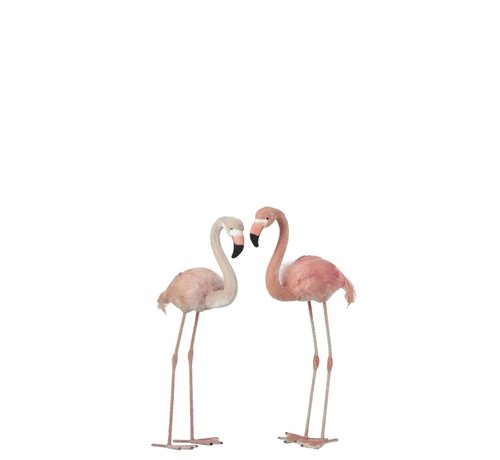 J -Line Decoratie Flamingo's Staand  Fluffy Veren Roze - Small