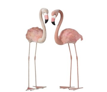 J -Line Decoratie Flamingo's Staand  Fluffy Veren Roze - Large
