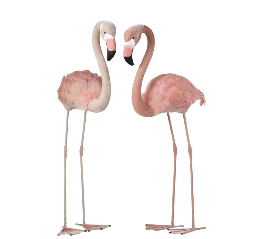 Decoration Flamingos Standing Fluffy Feathers Pink - Large