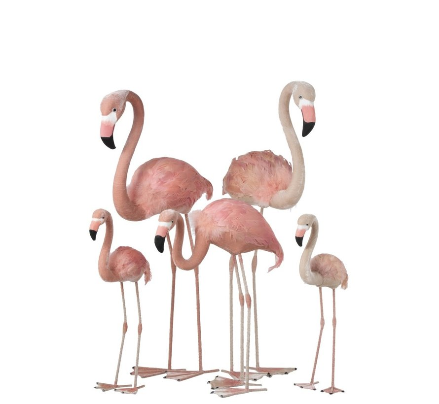 Decoratie Flamingo's Staand  Fluffy Veren Roze - Large