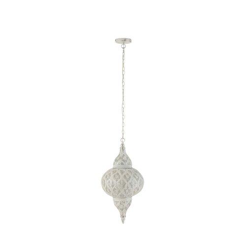 J -Line Hanglamp Oosterse Patronen Gaatjes Metaal Wit - Small