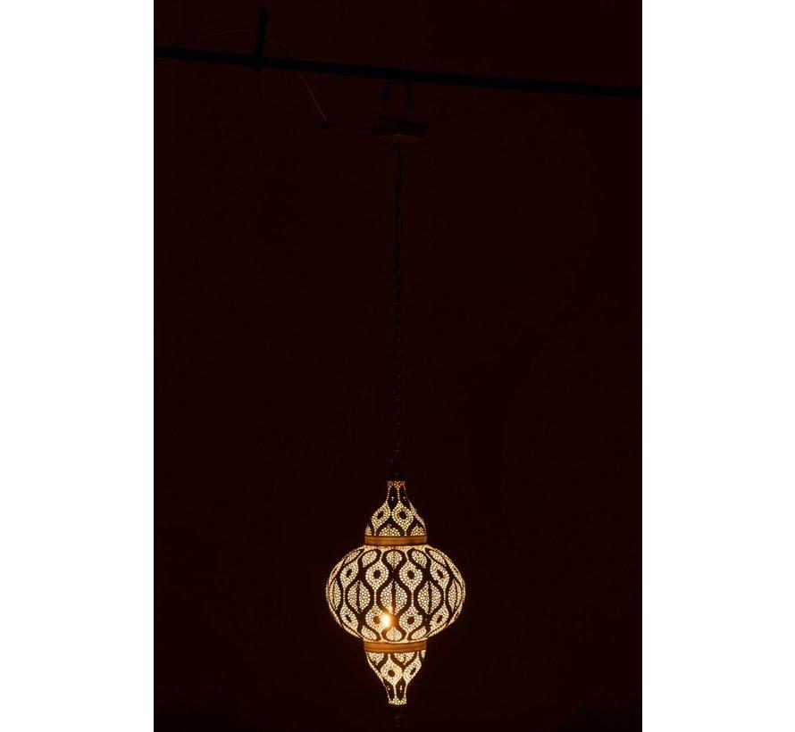 Hanglamp Oosterse Patronen Gaatjes Metaal Wit - Small
