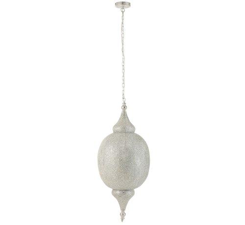 J-Line Hanging lamp Oriental Patterns Holes Metal White - Large