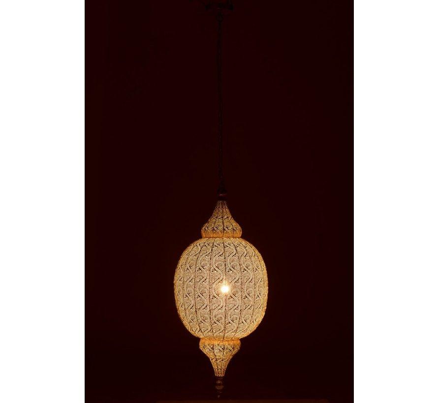 Hanging lamp Oriental Patterns Holes Metal White - Large
