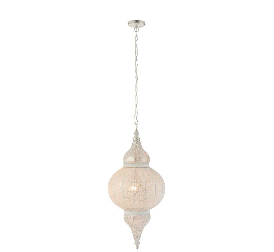 Hanglamp Oosterse Patronen Rand Gaatjes Metaal Wit - Large