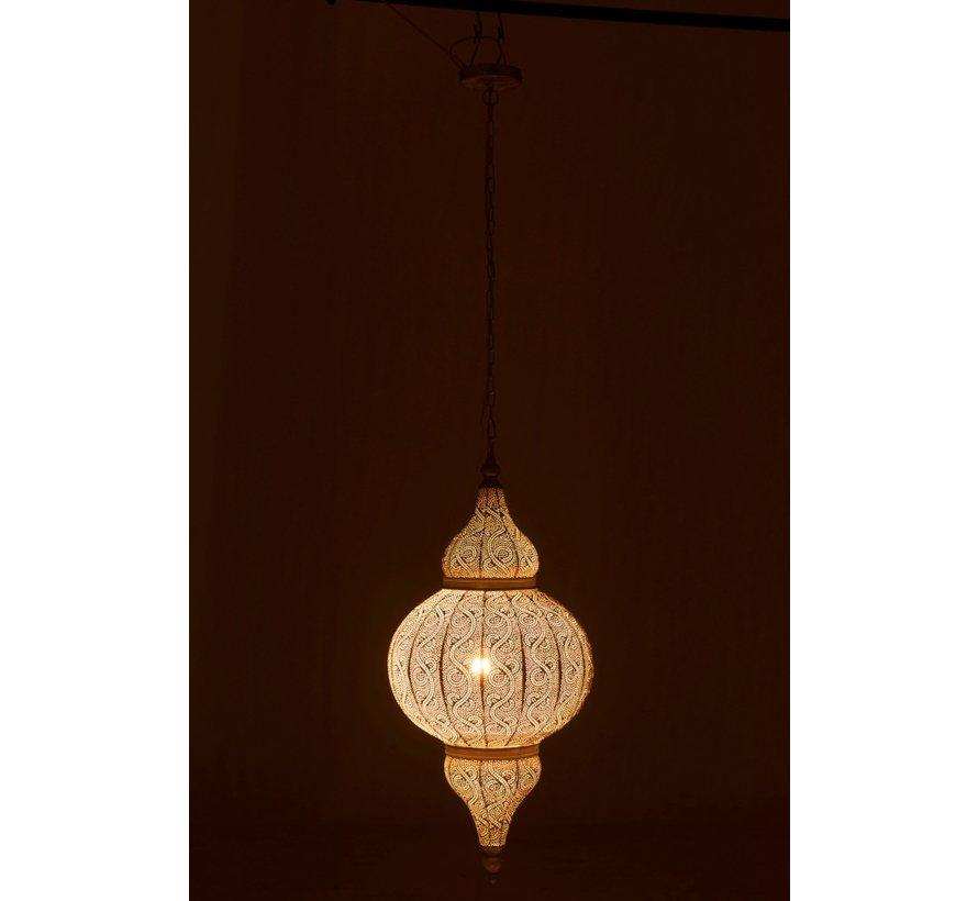 Hanging lamp Oriental Patterns Edge Holes Metal White - Large