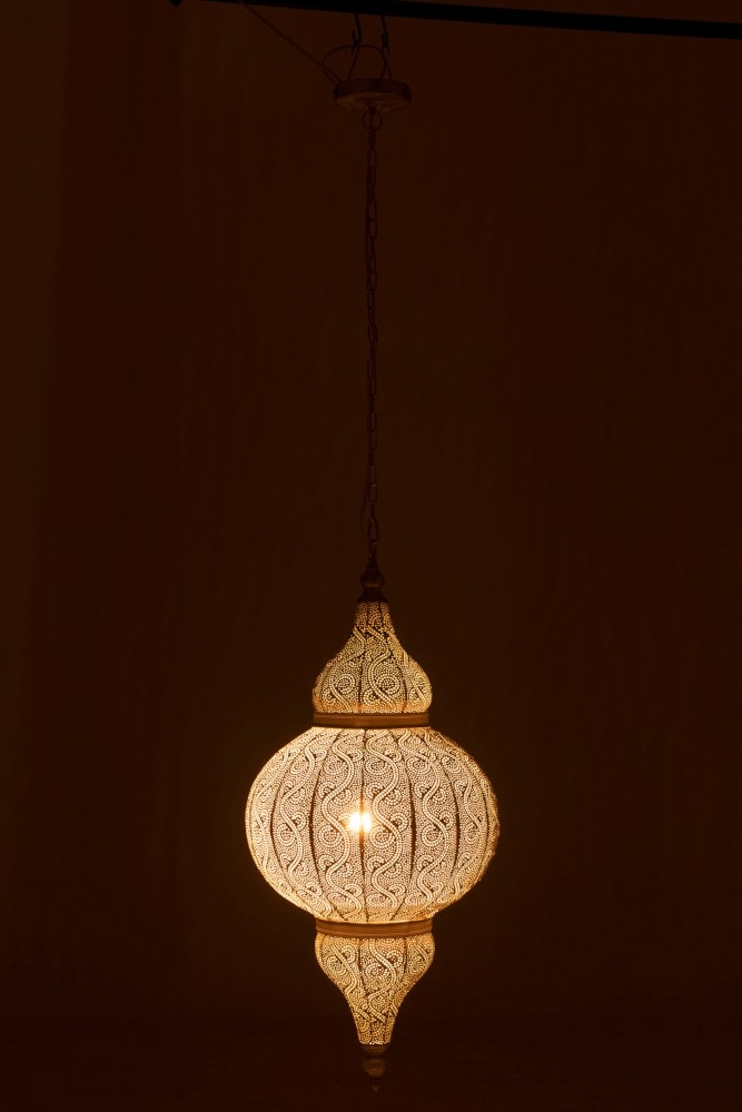 Hanging Lamp Oriental Patterns Edge Holes Metal White Large Sl Homedecoration Com