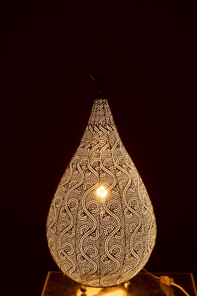 Table Lamp Drop Oriental Patterns Metal