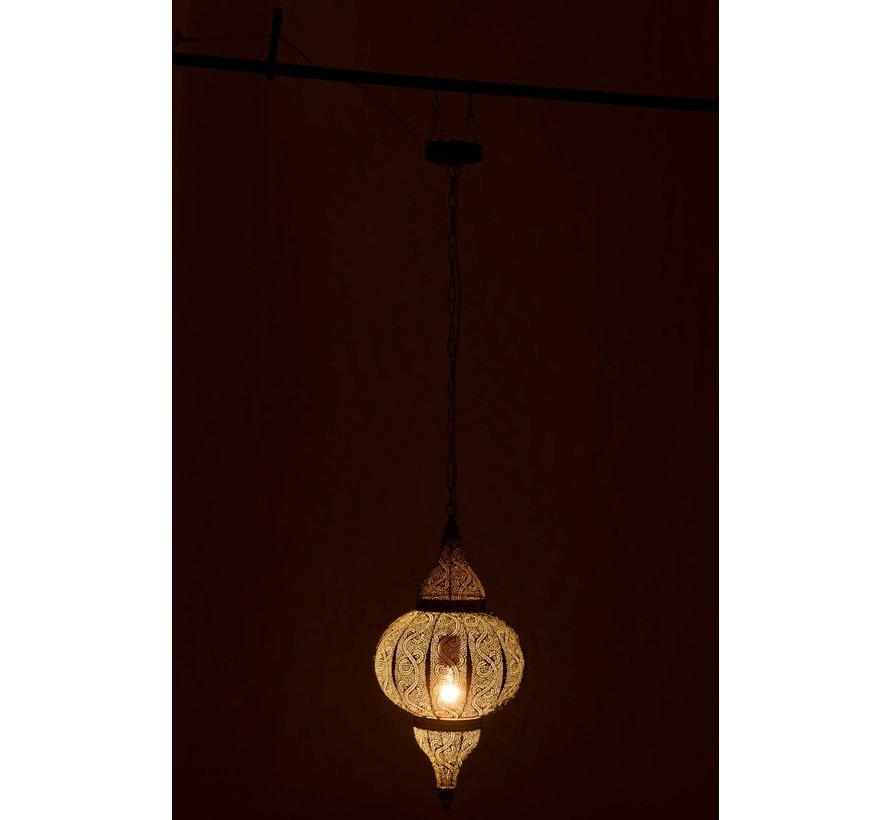 Hanging lamp Oriental Patterns Holes Metal Gold - Small