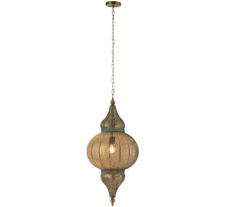 Hanging lamp Oriental Patterns Holes Metal Gold - Large