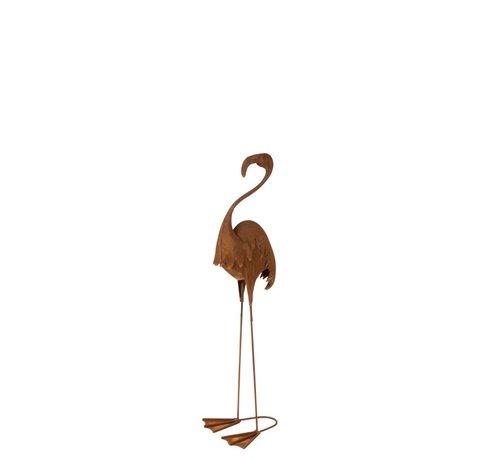 J -Line Decoration Flamingo Standing Metal Rust - Small