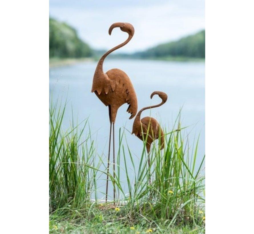 Decoratie Flamingo Staand Metaal Roest - Large