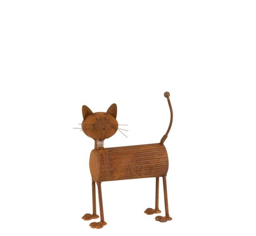 J -Line Decoration Cat Standing Metal Rust - Small