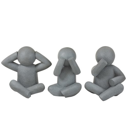 J -Line Decoration P'tit Maurice Cement Hear See Silence Gray - Large