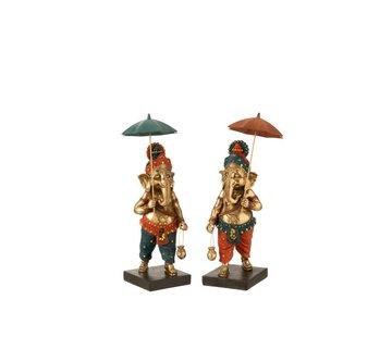 J-Line Decoration Ganesha Parasol Gold Orange Turquoise - Medium