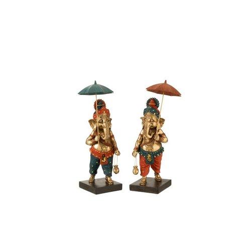 J -Line Decoratie Ganesha Parasol Goud Oranje Turquoise - Medium