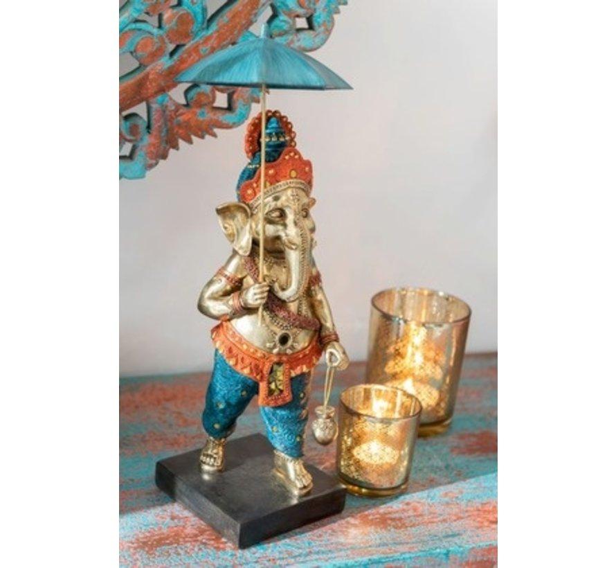 Decoration Ganesha Parasol Gold Orange Turquoise - Medium