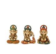 J-Line Decoration Ganesha Yoga Gold Orange Turquoise - Small