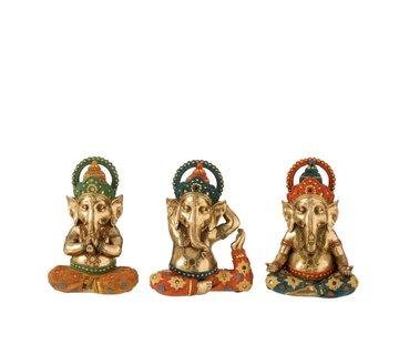 J -Line Decoration Ganesha Yoga Gold Orange Turquoise - Small