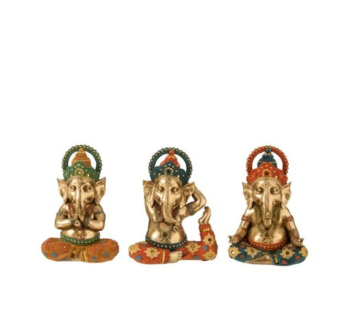 J -Line Decoratie Ganesha Yoga Goud Oranje Turquoise - Small