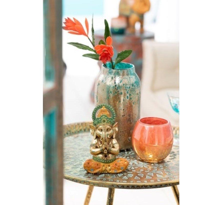 Decoration Ganesha Yoga Gold Orange Turquoise - Small