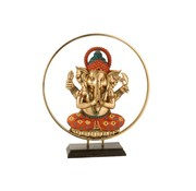 J -Line Decoration Ganesha Circle Gold Orange Turquoise - Large