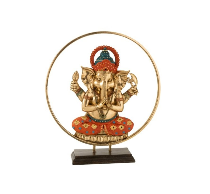 Decoratie Ganesha Cirkel Goud Oranje Turquoise - Large
