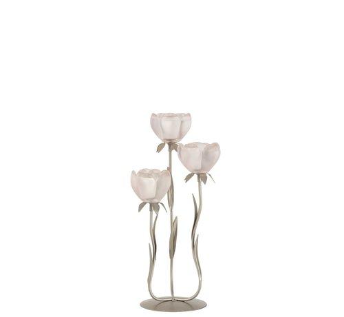 J -Line Theelichthouder Staander Glas Drie Bloemen Roze - Small
