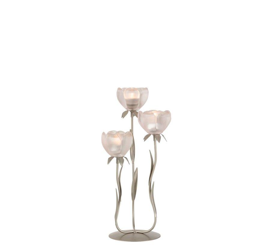 Theelichthouder Staander Glas Drie Bloemen Roze - Small